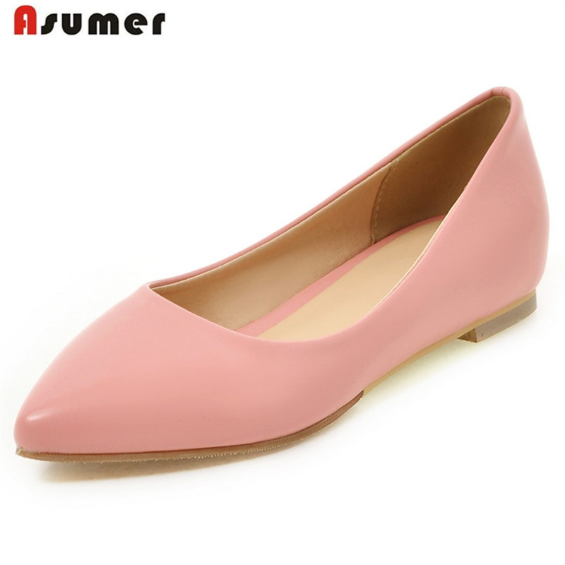 ASUMER 6 Colors women shoes pointed toe solid big size 33-45 flats boat shoes height increasing single shoes shallow fashion big size footwear woman flats shoes bling beads pointed toe boat shoes for women black solid fashion soft sole ladies shoe 43