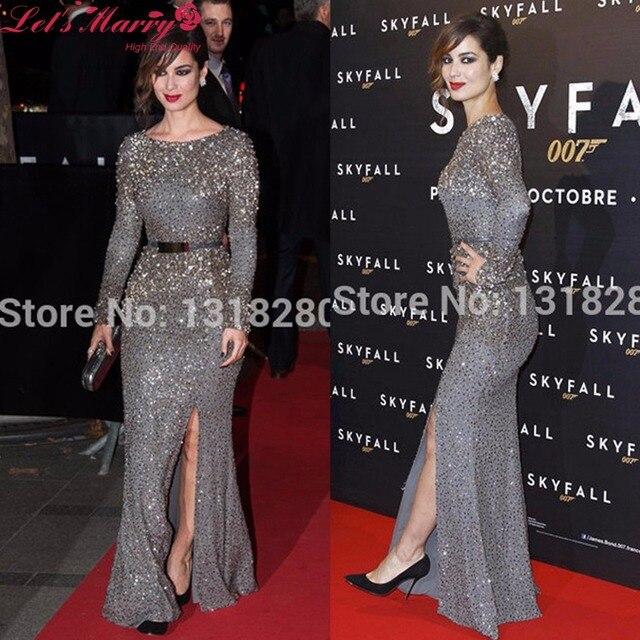 Plus Size Long Sleeves Mermaid Celebrity Dresses 2017 Side Split Crystal Sequins Beaded Evening Gown Celebrity Red Carpet Dress