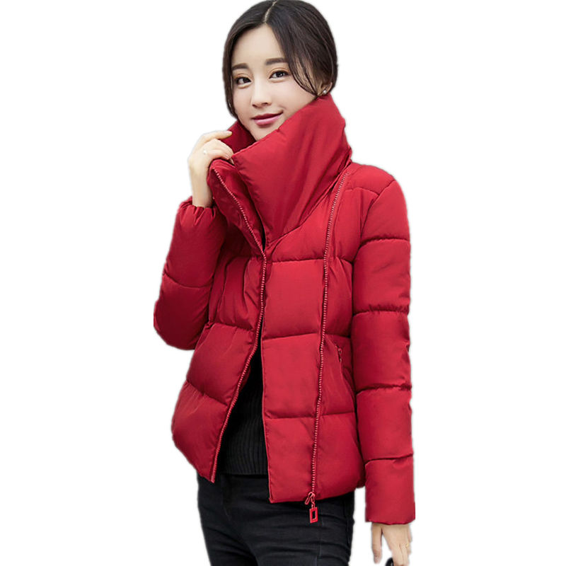 Stand Collar Short Parka Cotton Wadded Womens Winter Jackets Abrigos Mujer Invierno 2017 Coat Women Winter Jacket Women C3740 2017 new winter coats women winter short parkas female autumn cotton padded jackets wadded outwear abrigos mujer invierno w1492