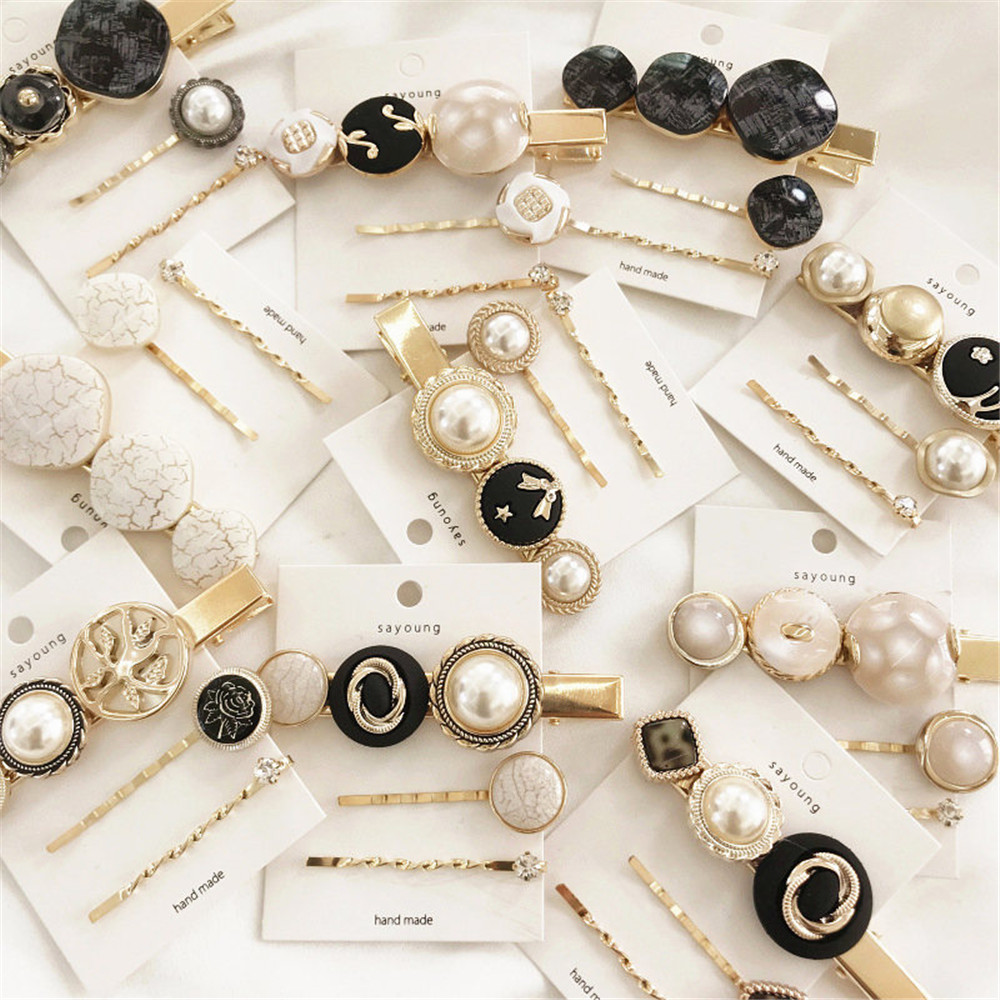3pcs/Set Vintage Women Imitiation Pearl Hair Clip Hair Accessories Hairpins Button Metal Hairpin Barrette Styling Tool