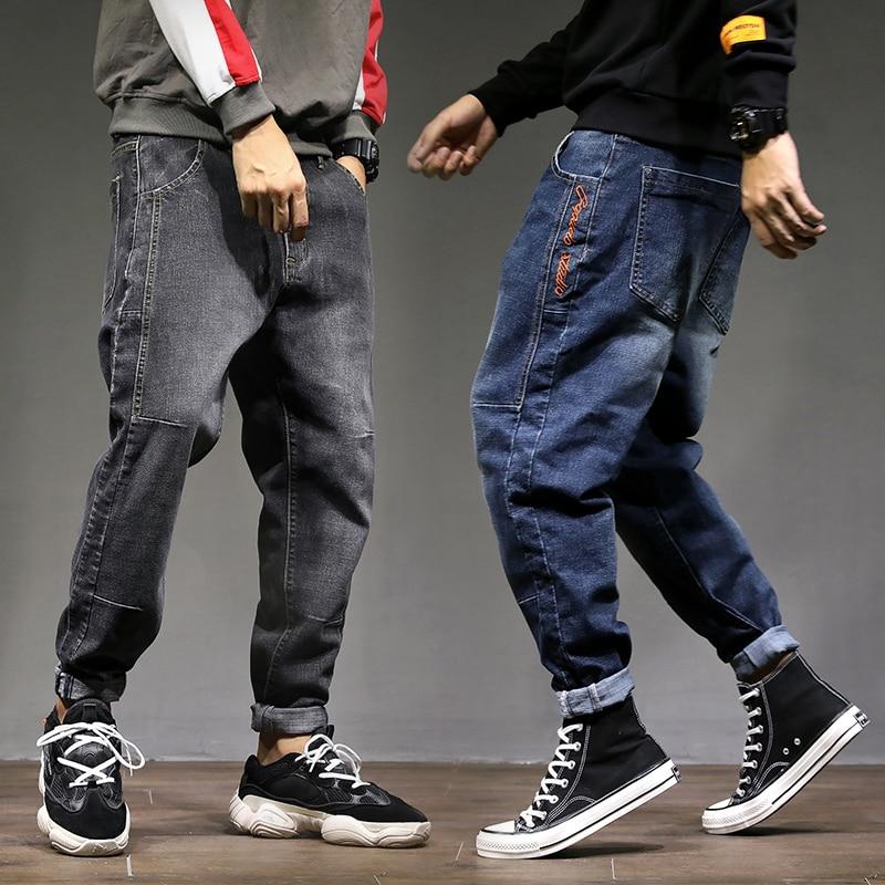 2019 High Street Fashion Men Jeans Loose Fit Harem Pants Blue Gray Color Punk Style Hip Hop Jogger Jeans For Men Cargo Pants