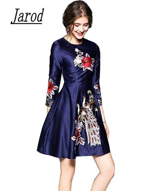 b71cc0b1a75d Spring Dresses 2018 Women Blue Embroidery Floral Three Quarter Sleeve  Casual Slim Luxury Party Dress Vestidos