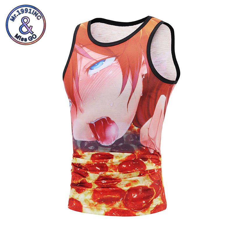 Mr.1991INC Youth tide card tank tops Sleeveless vests in summer Cartoon greedy boy 3d print waistcoat 2018 new style vest