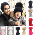 Fashion Children Winter Raccoon Fox Fur Hat For Girls Boys 100% Real Fur pompoms Ball Baby Beanies Cap Crochet Kids Knitted Hats