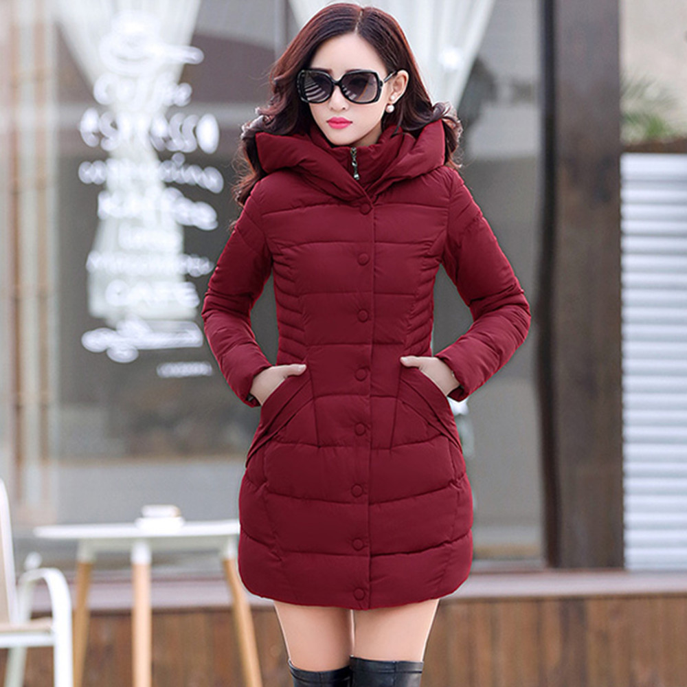 ФОТО 2016 New Fshion Women Winter Down Jacket Ladies Fashion Thick Warm Pure Color Hooded Long Jacket Big Yards Loose Coat b746