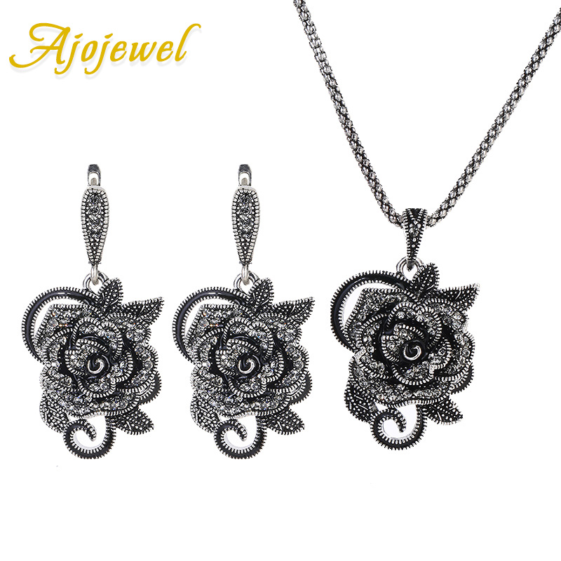 Ajojewel Delicate Black CZ Rose Flower Jewelry Sets Women Earrings Necklace Set Vintage Jewelry Wedding Party Birthday Gift