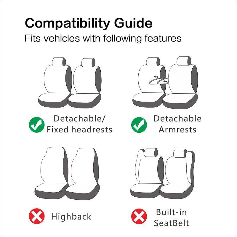 Conjunto de par de cuero de la PU Accesorios interiores Cubiertas de asientos de autom/óvil para la cubierta del asiento delantero Color negro se adapta a la mayor/ía de los autos camionetas