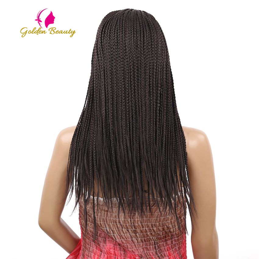 Image 5 - Golden Beauty 22inch Long Braided Box Braids Wig Natural Black Brown Synthetic Braiding Hair Wig for African Women-in Synthetic None-Lace  Wigs from Hair Extensions & Wigs