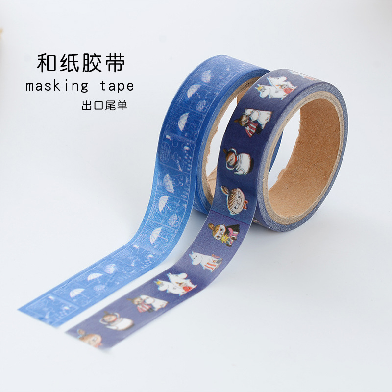 DIY Cartoon Moomin Japanese Paper Masking Washi Tapes Decorative Tape Scrapbooking Stickers School Supplies 15 Mm*5m