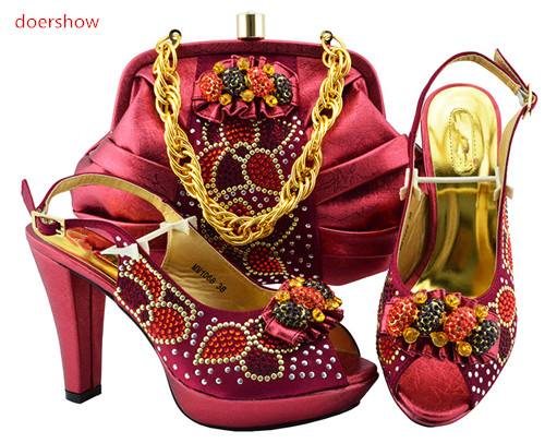 doershow wine Shoes And Bag Set New 2018 Women Shoes And Bag Set In Italy Italian Shoes with Matching Bags Set PFG1-18 doershow shoe and bag set new 2018 women shoes and bag set in italy red color italian shoes with matching bags set sbt1 5