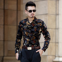 Shirts for Men Long Sleeve silk golden Velvet Dress Shirt Man new hollow sexy floral velvet shirt top quality free shipping