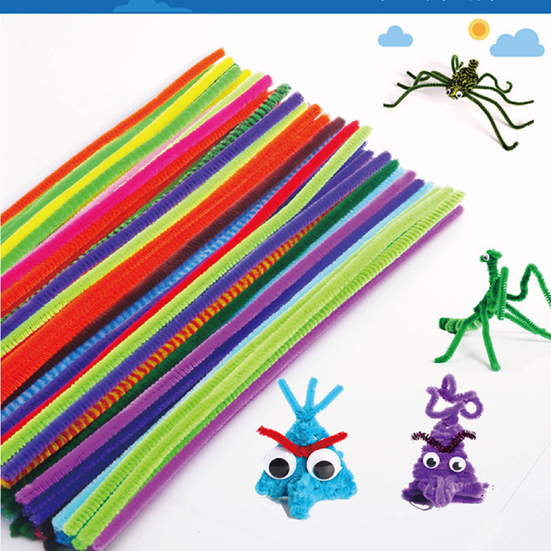 Toys For Children 100pcs Montessori Materials Chenille Puzzle Wooden Toys Crafts Pipe Cleaner Stuffed Kids Toys Toy Puzzles1021