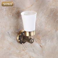 Retro Classic Antique Brass Bathroom Toothbrush Holder Single Glass Cups Carved Pattern Base Wall Mounted