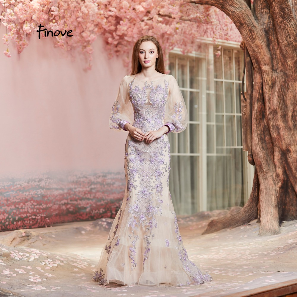 finove fall new evening dress long 2018 robe de soiree full sleeves tulle chic appliques