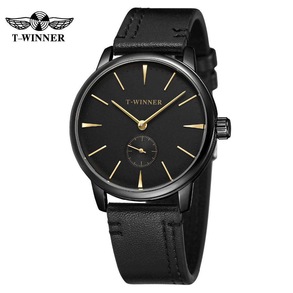 Winner Men's Casual Sports Mechanical Automatic Self-Wind Watch Male Fashion Leather Strap Wrist Watches + Box все цены