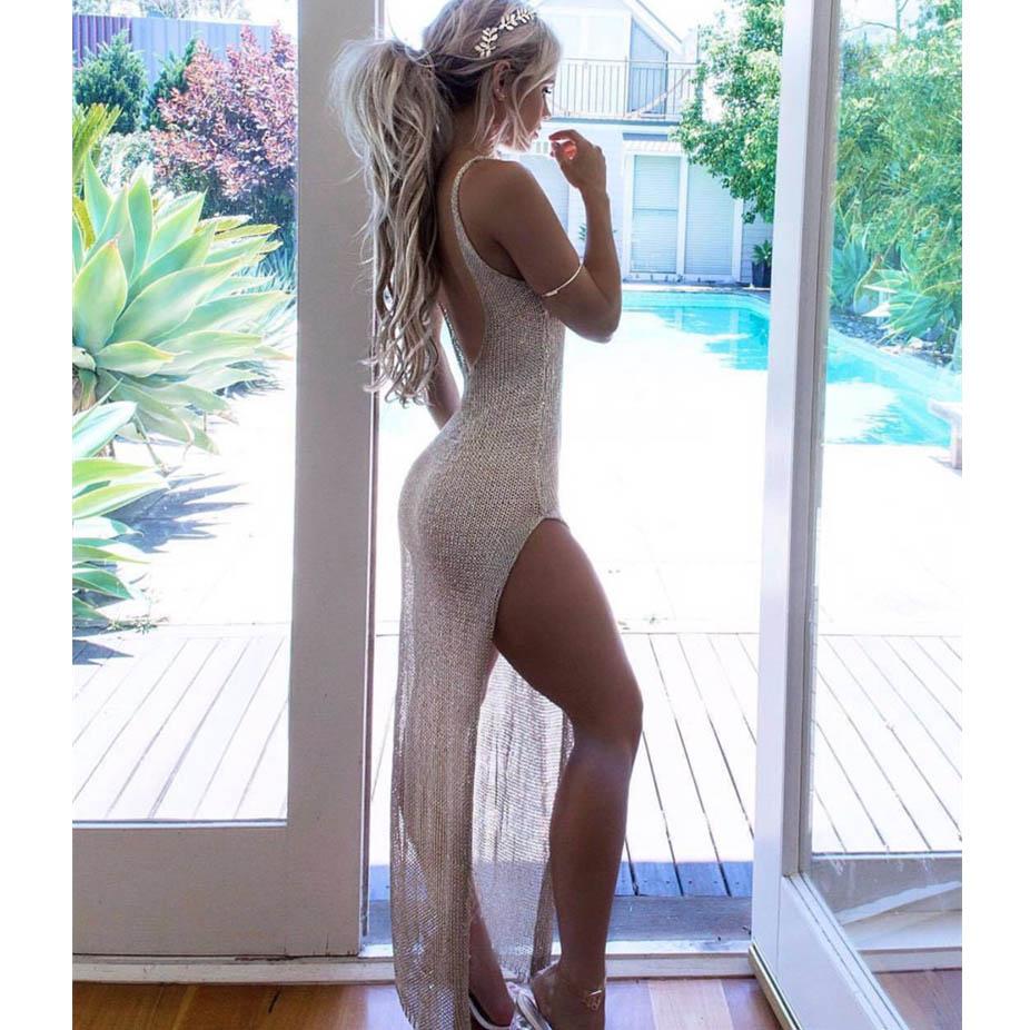 2017 Vikinii Sexy Summer Beach Dresses Silver Women Beachwear Kaftan Pink Beach Cover Ups robe de plage