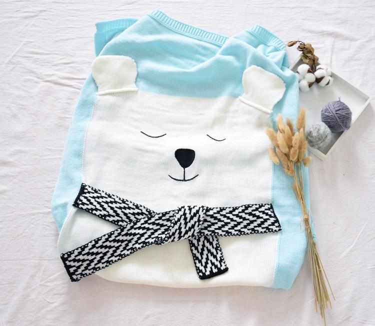 الوليد الطفل بطانية الكروشيه الدب cartton أطفال الأطفال البطانيات محبوك الطفل قماط التفاف لينة أريكة عربة بطانية