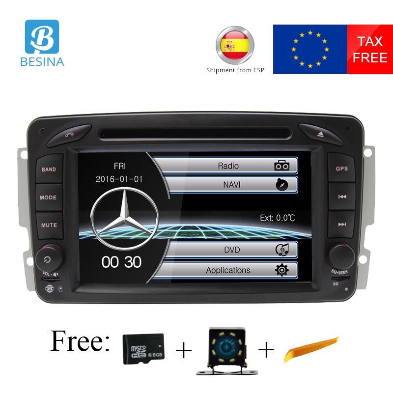Besina 2 Din Autoradio Pour Mercedes Benz CLK W209 W203 W208 W463 Vaneo Viano Vito BT SD GPS Navigation voiture Multimédia DVD Lecteur