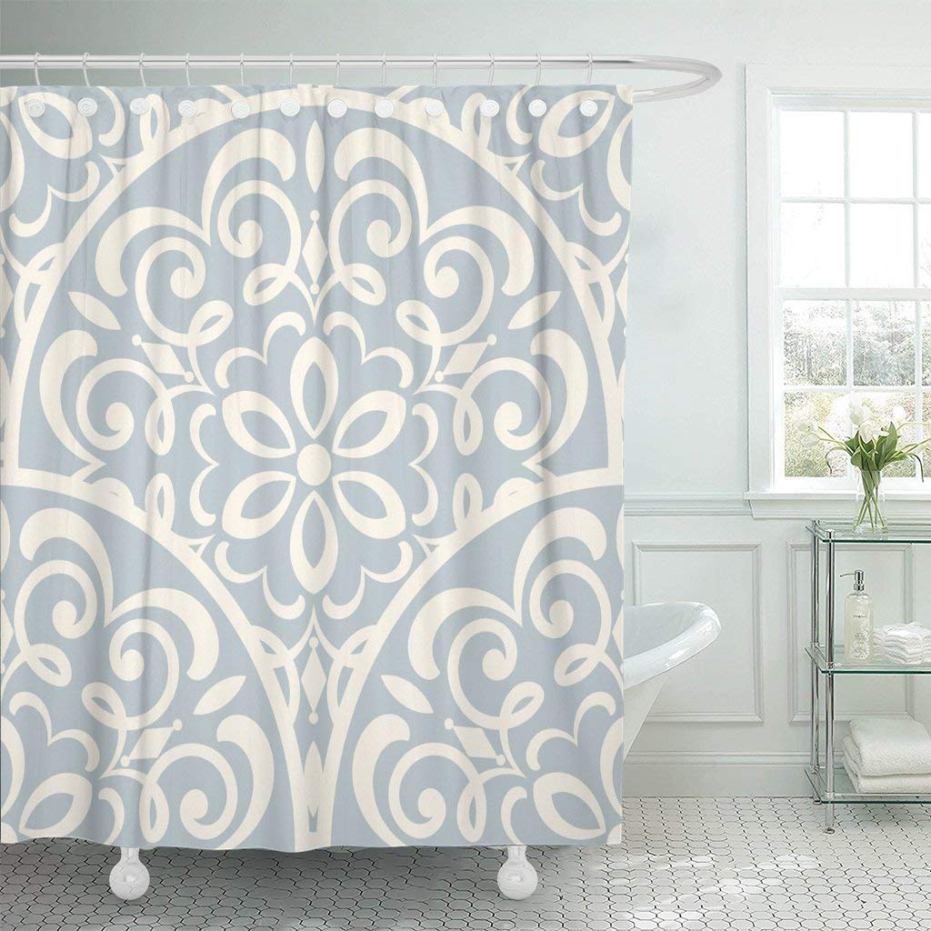 Us 18 73 25 Off Fabric Shower Curtain Hooks Beige Abstract Damask Pattern Blue Floral Flower Mandala Moroccan Retro Turkish In Shower Curtains From