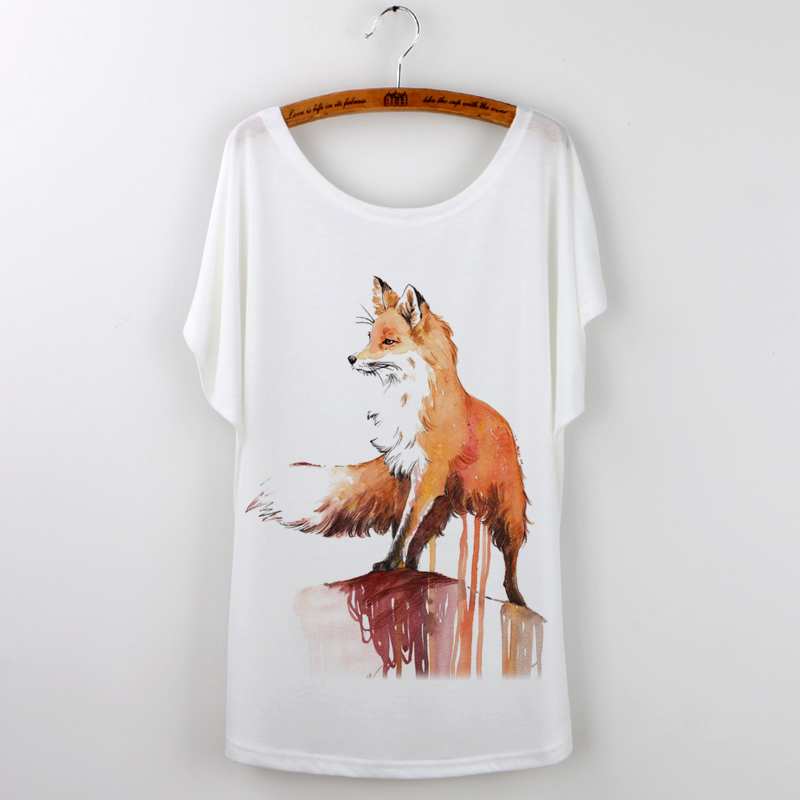 Ogilvy costume Store Tumblr Hot Sale Fashion O-neck Camisetas Mujer 2017 Summer T-shirt Women Tops New Brand Fox Animal T Shirt Femme Hipster Tee