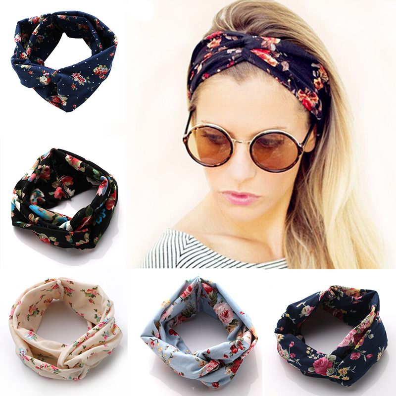 New Fashion Women Hair Band Turban Headband Multicolored Flowers Crossed Elastic Headbands for Women wide hair accessories dhl or ems 120pcs two color crossed milk silk headband knotted hair band lady wash headdress td 31 hair accessories