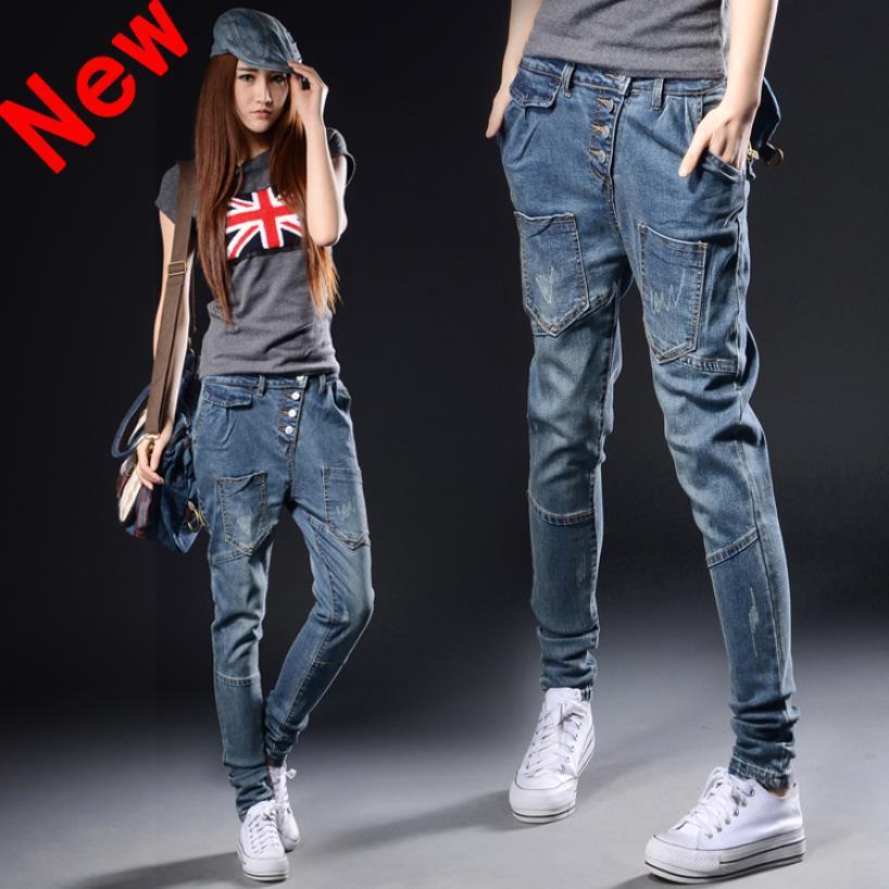 New 2019 Korean Fashion Jeans Women's Casual Loose Harem Pants Slim Denim Jeans Women Plus Size Loose Pencil Trousers 021607