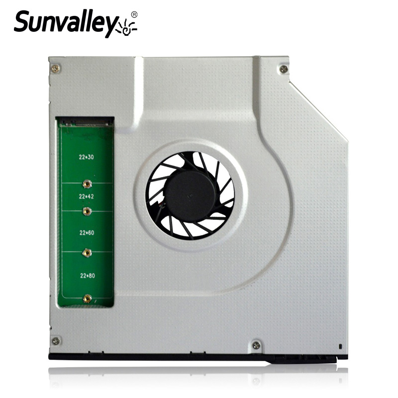 Sunvalley New 9 5mm SATA M 2 B key NGFF Solid State Disk 2nd HDD Caddy SATA 3 SSD HDD Aluminum Case For Laptop DVD CD-ROM
