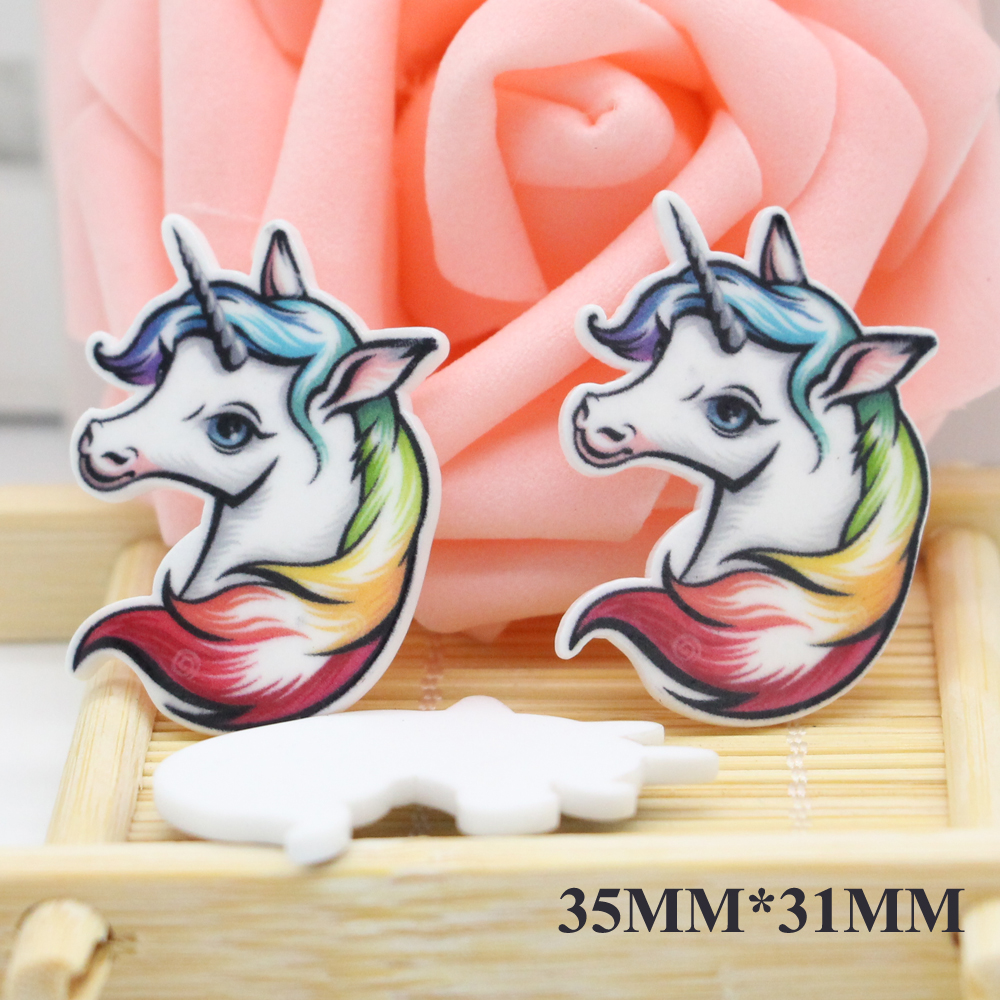 50pcs 35*31MM Cartoon Unicorn Flatback Resin Cabochon Horse Resina DIY Craft Embellishments Resinas Planas De Personajes DL831