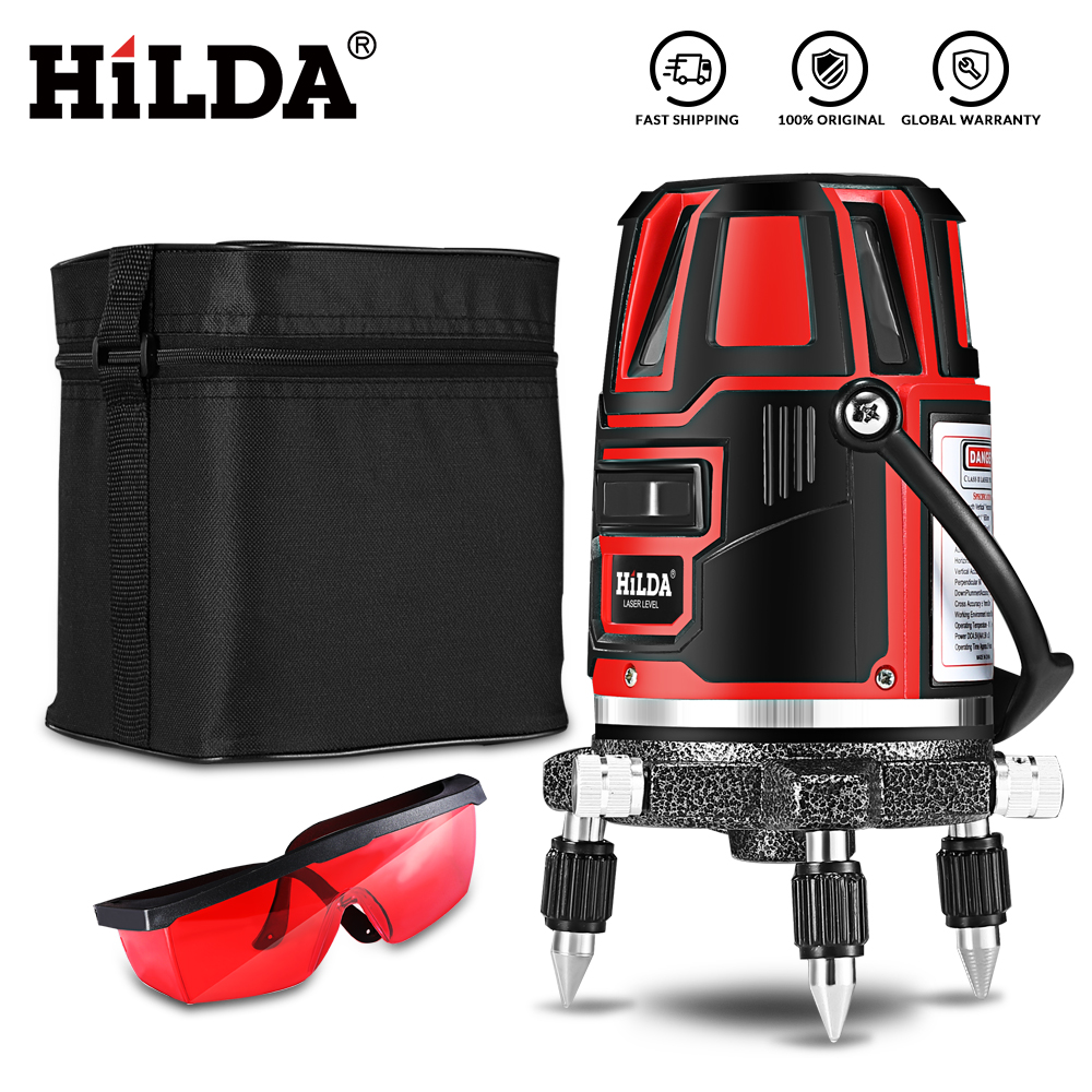 HILDA Laser Level 5 Laser Lines 6 Points 360 Degrees Rotary 635nm Outdoor Mode - Receiver And Tilt Slash Available Auto Line