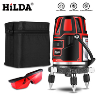 HILDA Laser Level 5 Laser Lines 6 Points 360 Degrees Rotary 635nm Outdoor Mode Receiver And Tilt Slash Available Auto Line