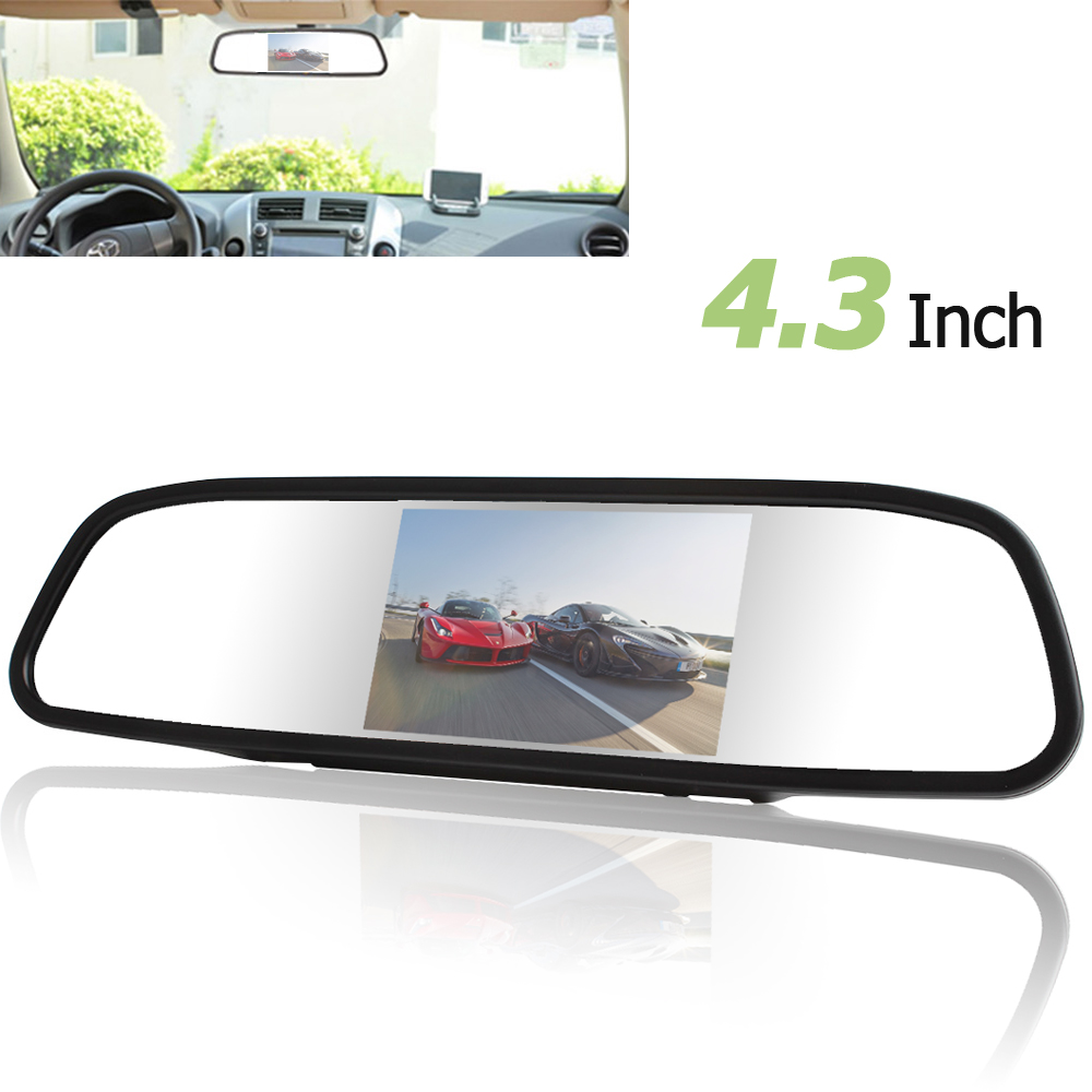 4.3 inch Digital TFT-LCD Color Screen Car Rear View Mirror Monitor 2 Video Input PAL / NTSC for Car Rearview Backup Camera4.3 inch Digital TFT-LCD Color Screen Car Rear View Mirror Monitor 2 Video Input PAL / NTSC for Car Rearview Backup Camera