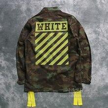2016 new Fashion trend white off white Camouflage 16ss letter stripe flock printing thin men m65 jacket outerwear