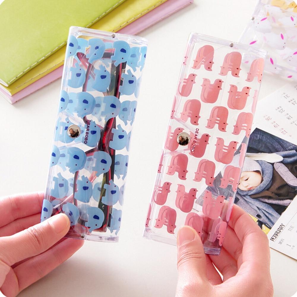 1 Stücke Kawaii Cartoon Tiere Pvc Gläser Box Nettes Mädchen Der Transparente Gläser Fall Protable Brillen Boxen Einfach Zu Schmieren