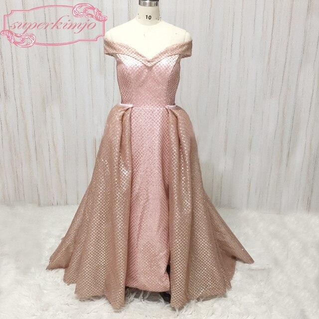 rose gold prom dresses evening gowns off the shoulder detachable train  sequins shinning floor length glitter glued evening dress 4fdde99b9668
