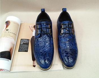 Genuine Leather Men's Dress Shoes Pointed Toes Lace-Up Wrinkle paint Low Heel Dark Blue Smart Casual Height Increasing Shoes
