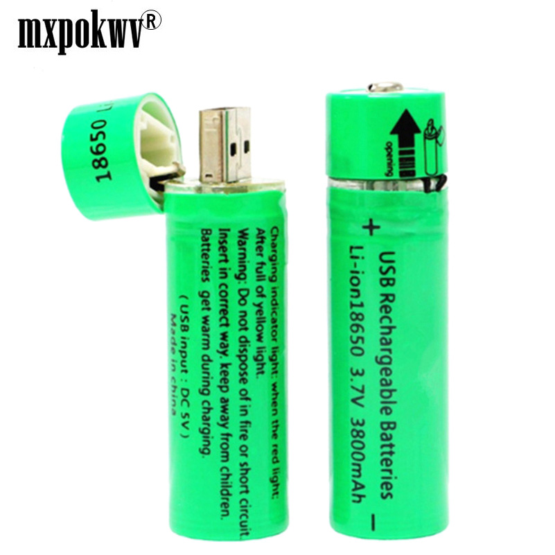 2Pcs 3800mah 18650 battery usb 3.7V rechargeable lithium polymer batteries for led flashlight power bank long life deep cycle
