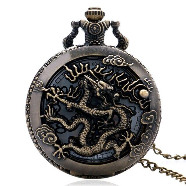 Vintage Watch Necklace Chinese Zodiac Dragon Hollow Bronze Quartz Dragonfly Pocket Watch Necklace Pendant Women Men Gifts