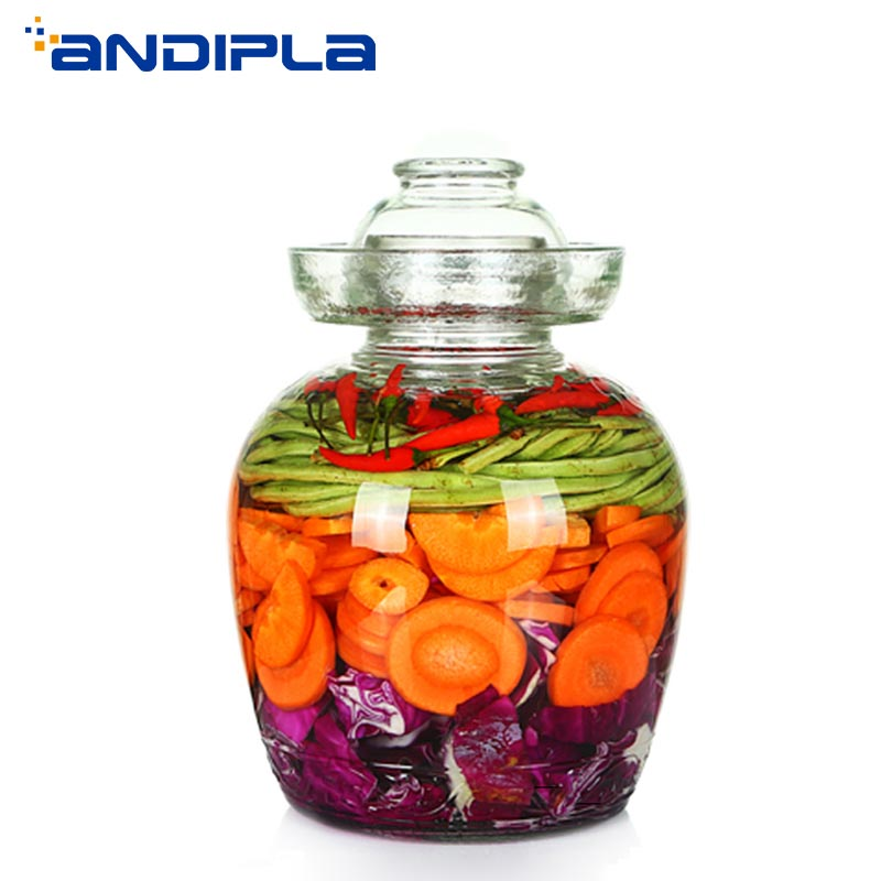 Thicken Transparent Glass Pickle Bottles Food Sealed Jar Night Stains Pickled Cabbage Radish Container Vegetable Canister Holder