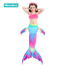 Medoboo 3PCS/Set Children Girls Swimsuit Swimmable Bikini Mermaid Bathing Swimming Suit Kids Swimwear Beachwear 25