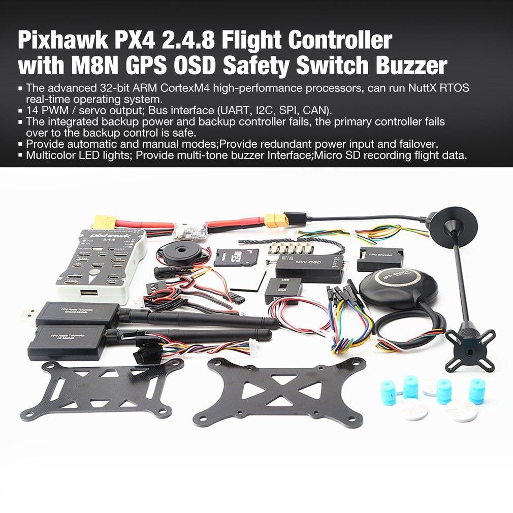 Pixhawk PX4 PIX Pilote Automatique 2.4.8 100 MW Drone contrôleur de vol avec Télémétrie M8N GPS Mini OSD PM interrupteur de sécurité Buzzer PPM I2C