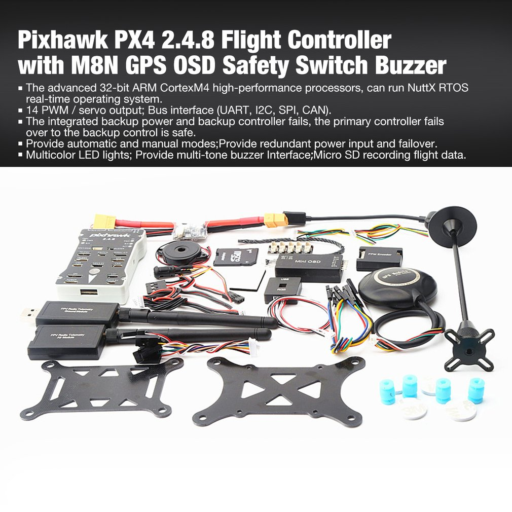 Pixhawk PX4 PIX Autopilot 2.4.8 100MW Drone Flight Controller with Telemetry M8N GPS Mini OSD PM Safety Switch Buzzer PPM I2CPixhawk PX4 PIX Autopilot 2.4.8 100MW Drone Flight Controller with Telemetry M8N GPS Mini OSD PM Safety Switch Buzzer PPM I2C
