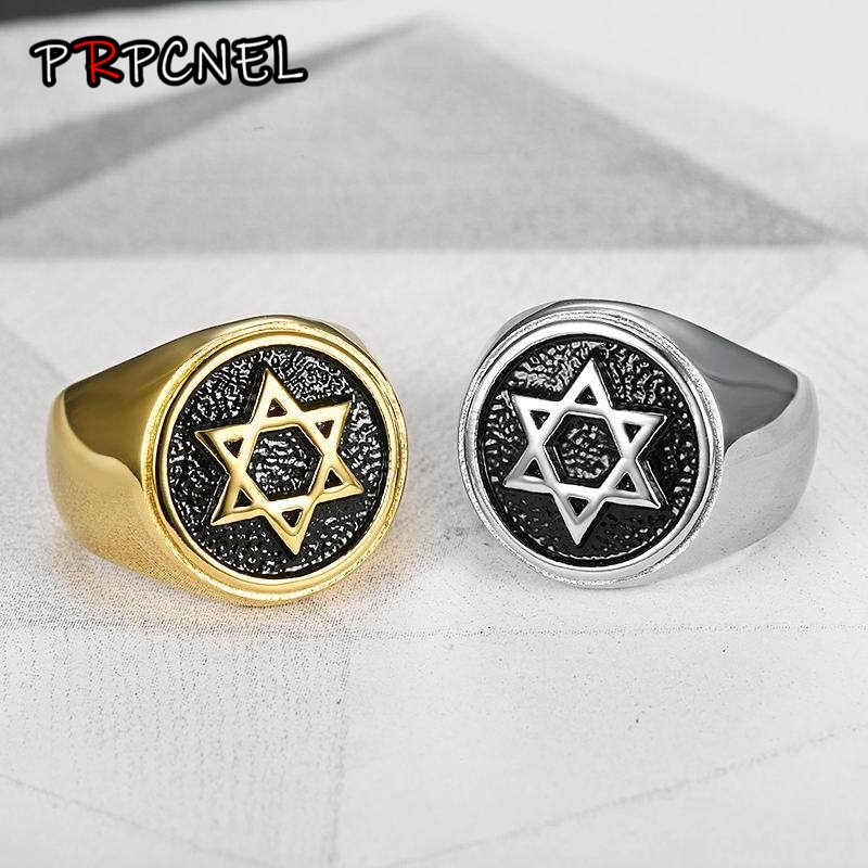 Jewelry Hexagram-Ring Star Hip-Hop 316l-Stainless-Steel Gold-Color Vintage Hot-Sale Fashion