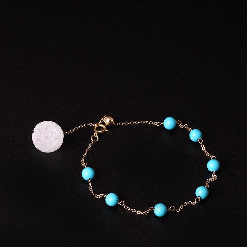 LouLeur 14K gold Turquoise jade bracelets handmade DIY natural green Turquoise white jade bracelets for women fashion jewelry
