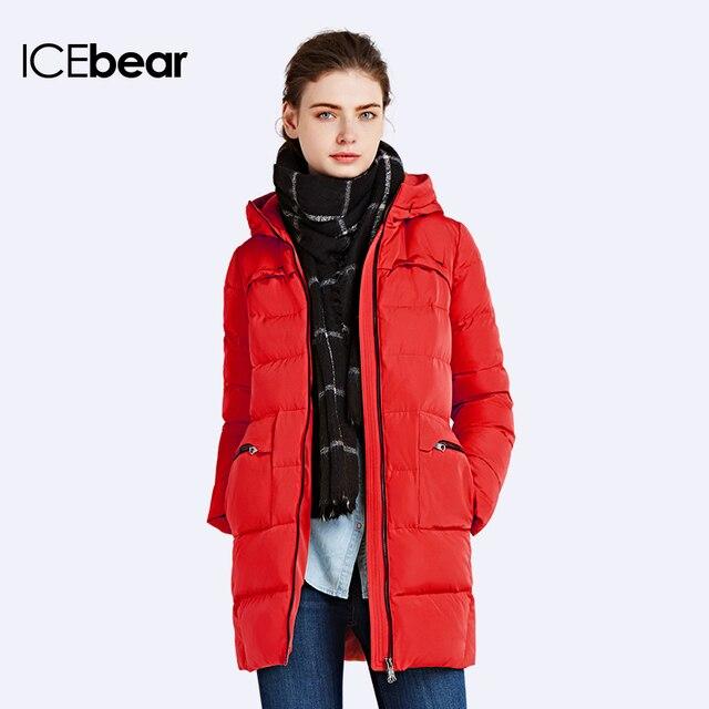 ICEbear 2016 Winter Slim Parka Thick Jackets Women Outwear Long Coat Hooded Zipper Four Pockets Jacket Warm Cotton 16G675