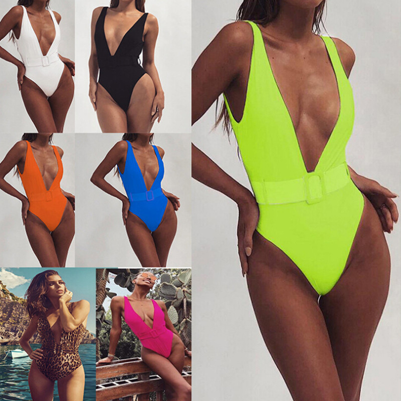 <font><b>Swimsuit</b></font> <font><b>2019</b></font> Push Up Bikini <font><b>Sexy</b></font> Mulheres 7 Colors <font><b>One</b></font> <font><b>Piece</b></font> Bandeau Beachwear Belt Swimwear <font><b>Swimsuit</b></font> Mulher Monokini image