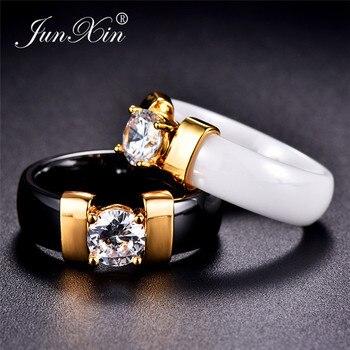 75e71c5bcacc JUNXIN mujer hombre negro blanco cerámica anillos para parejas plata oro  Metal redondo Zircon Crystal anillos de boda para hombres mujeres regalo