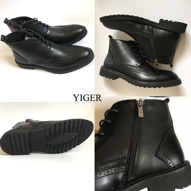 YIGER Genuine Leather Boots for Men 27