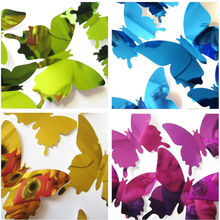 12pc 3D Stereo Mirror Butterfly Sticker Wedding Festival Decoration Bedroom Living Room Wall L108