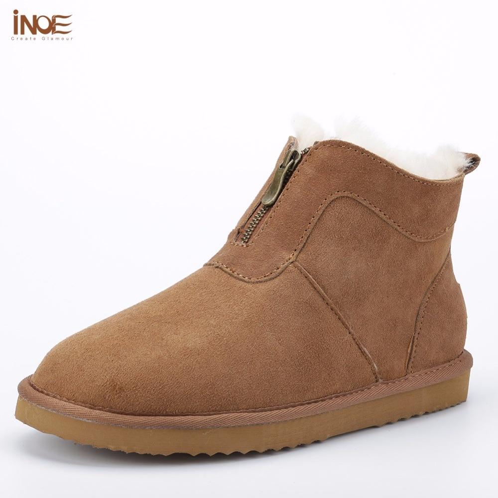 Здесь можно купить   INOE 2016 new style genuine sheepskin leather natural fur lined for men winter snow boots with zipper short ankle winter shoes Обувь