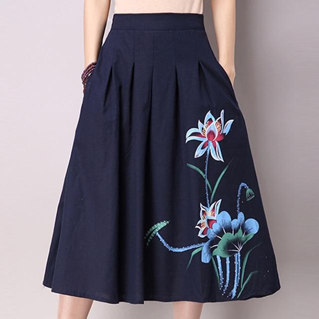 abfd38d3df1684 marine blauwe geplooide rokken hoge taille casual linnen katoen lange rokken  vrouwen elastische taille zakken ontwerp